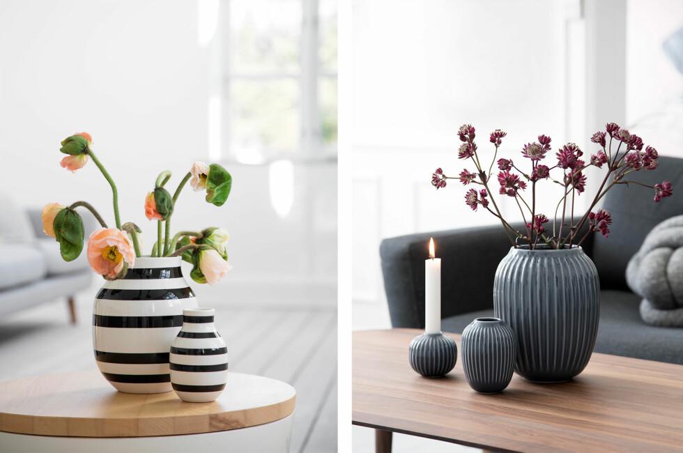 FRA STRIPER TIL RILLER: De stripete Omaggio-vasene til venstre er å se i mange norske hjem. Nå er den ikke trendy lenger. Men en ny vase fra samme produsent ser ut til å seile opp som ny trend-vase. Foto: KÄHLER
