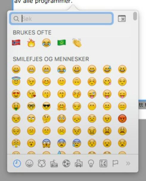 ENKELT: Du trenger bare å trykke ctrl-cmd-mellomrom på Mac for å skrive emoji-ikoner. Foto: PÅL JOAKIM OLSEN