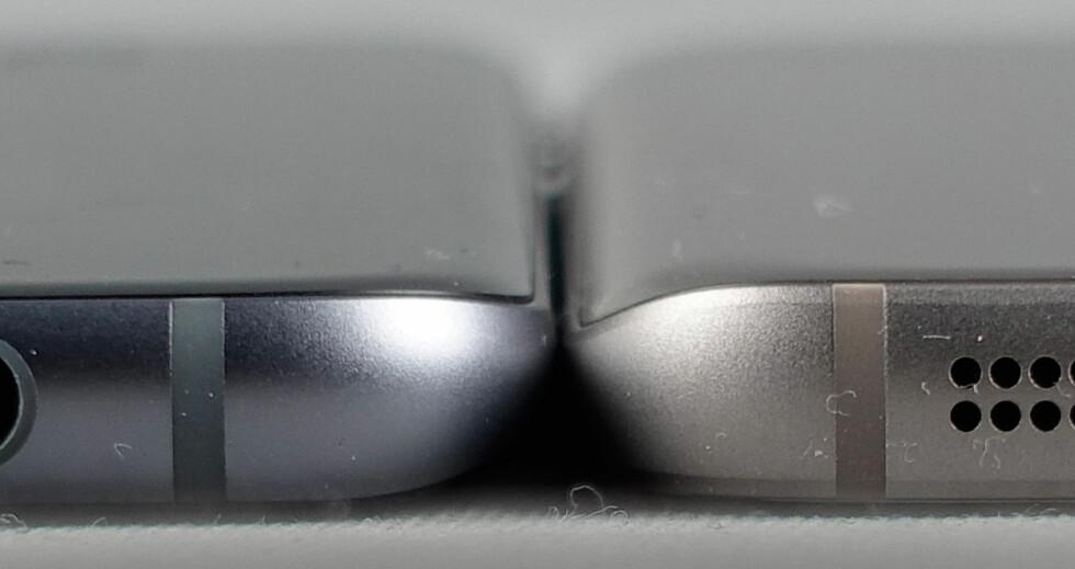 SIDE OM SIDE: Galaxy S7 (til høyre) er 0,2mm tykkere enn Edge-utgaven og har en mer avrundet bakside. Foto: PÅL JOAKIM OLSEN