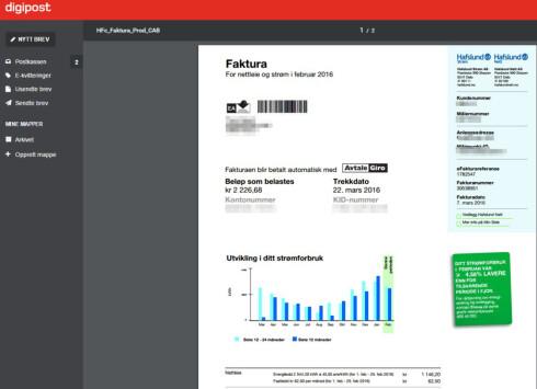 STRØMREGNING: Fakturaer for strøm, bredbånd og andre faste utgifter lander i digitalboksen din. Foto: TORE NESET/DIGIPOST