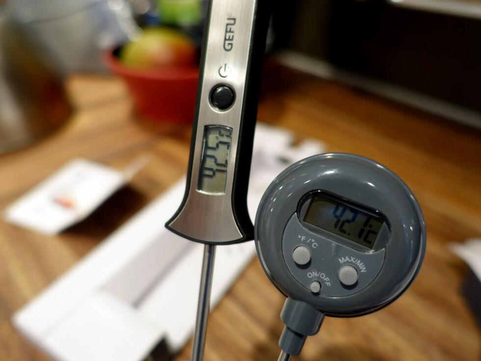 MÅLINGER: Vi har målt temperaturer over to døgn, i 2 minusgrader, og med flere termometer. Foto: KRISTIN SØRDAL
