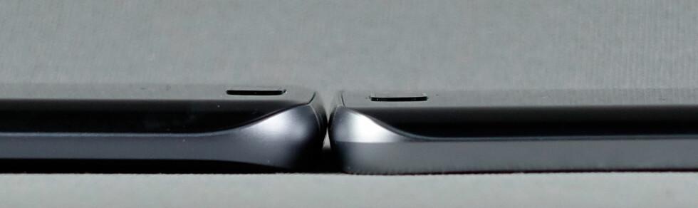 TYKKERE: Men ikke så mye –S7 Edge til venstre, S6 Edge+ til høyre. Batterikapasiteten på S7 Edge er 20 prosent høyere. Foto: PÅL JOAKIM OLSEN