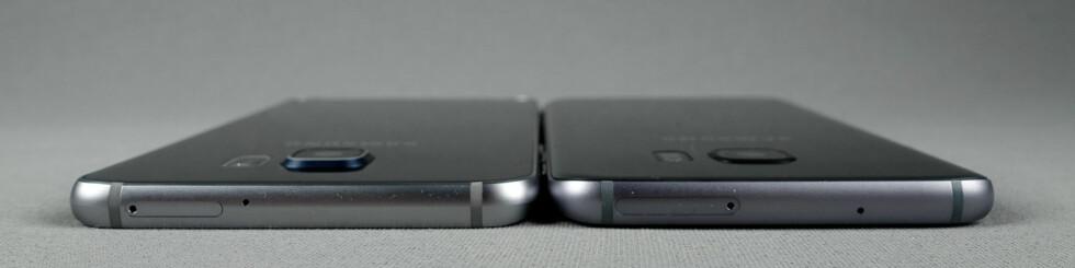 STIKKER UT: Kameraet på S7 Edge (høyre) stikker fortsatt bittelitt ut, men ikke så mye som på S6 Edge+ (venstre). Foto: PÅL JOAKIM OLSEN