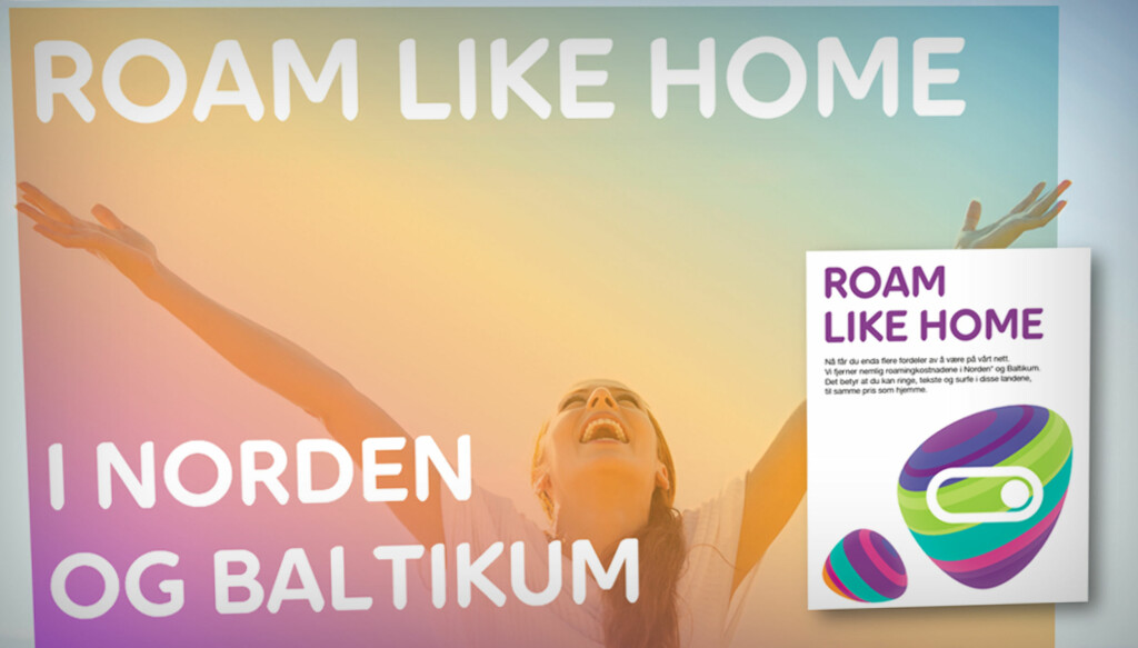 NYE TIDER: Slik ser både Roam Like Home-reklamen og profilen til nye Netcom, nå Telia, ut.  Foto: TELIA