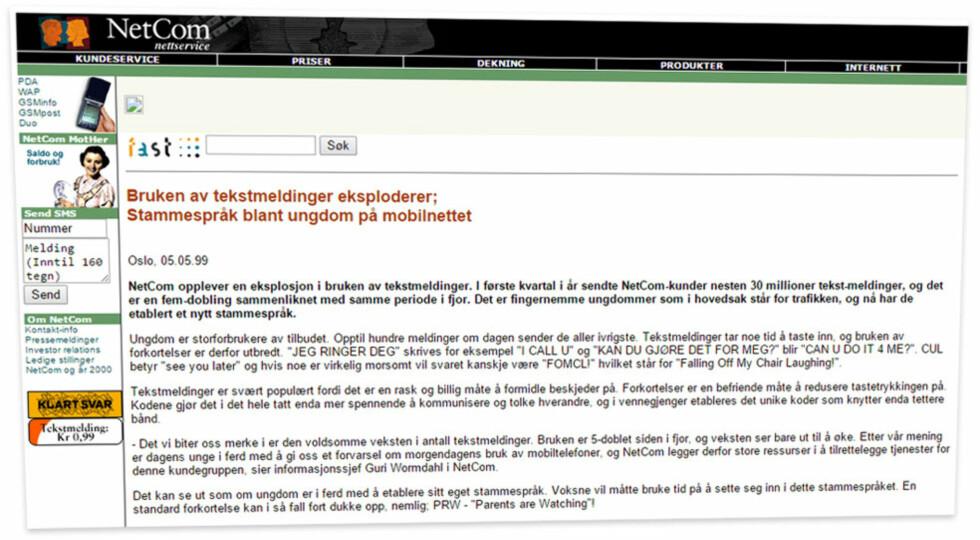 <strong><b>VÆRT MED LENGE:</strong> </B>Netcom har med sin lange historie vært med på det meste i moderne mobilhistorie. Her er nettsidene deres slik de framstod i 1999. Foto: OLE PETTER BAUGERØD STOKKE