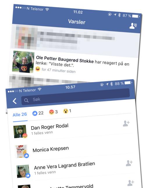 HVEM ER SURPOMPENE? Det er enkelt å se hvem som uttrykker misnøye over det du deler på Facebook. Foto: KIRSTI ØSTVANG