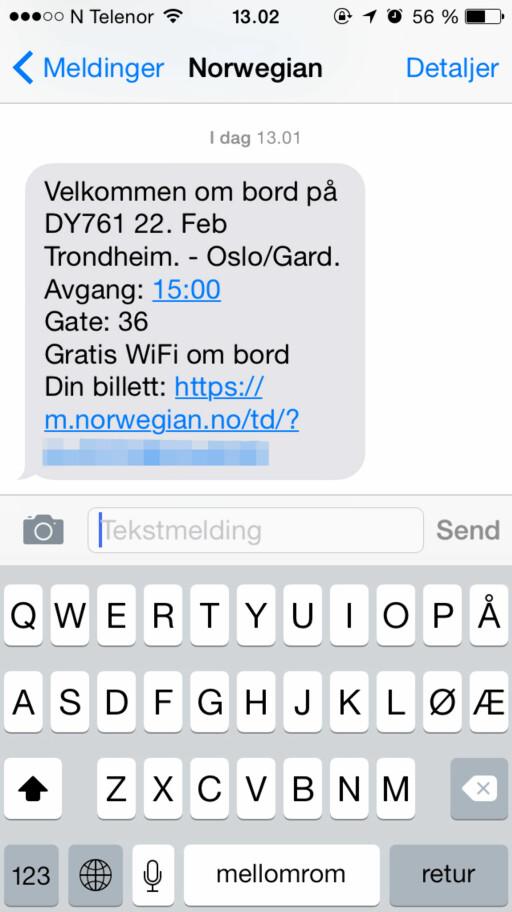 FEILSENDT: SMS-en bekrefter at billetten er bestilt. Problemet er bare at den kom til feil person.