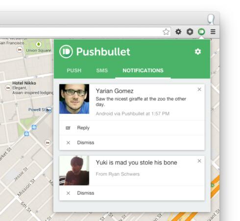 VISER VARSLER: Pusbullet er en populær tjeneste som lar deg se varsler fra telefonen på PC-en. Du kan også bruke tjenesten for å sende og lese SMS, sende filer og tekst fra en enhet til en annen og lignende. Foto: PUSHBULLET