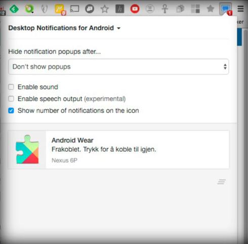 ENKEL LØSNING: Desktop notifications har ikke like mange funksjoner som Pushbullet, men er enkel å sette opp og bruke. Foto: PÅL JOAKIM OLSEN