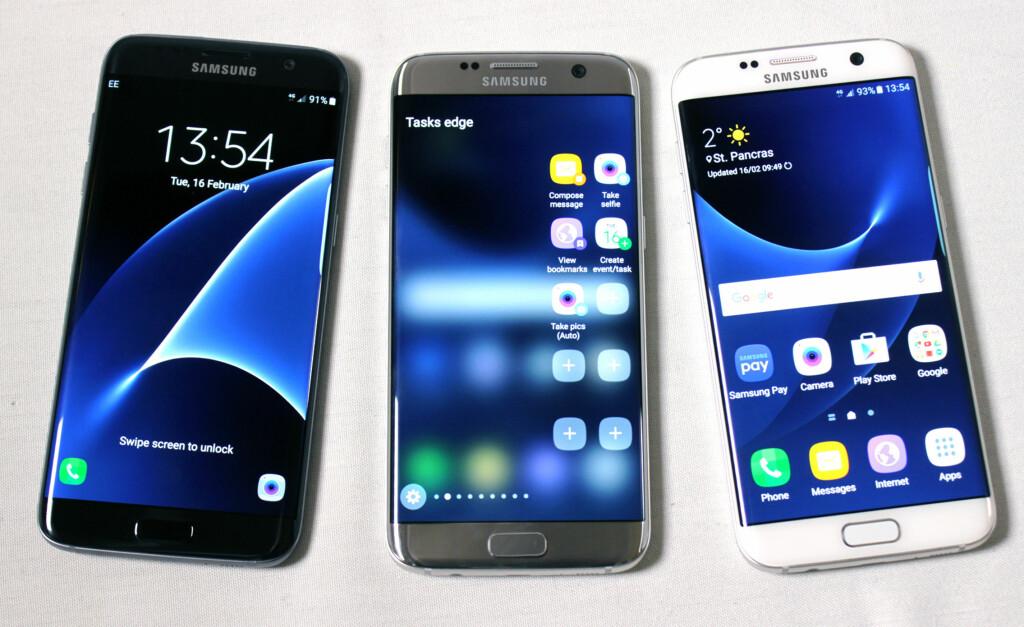 FLOTT SKJERM: Skjermen til Galaxy S7 er sylskarp, og hadde tilsynelatende god fargegjengivelse og innsynsvinkel etter hva vi kunne se.  Foto: KIRSTI ØSTVANG