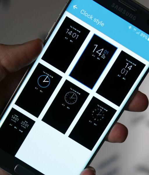 VELG STIL: Du kan enkelt velge hvordan klokka som skal vises når skjermen er avslått, ser ut.  Foto: KIRSTI ØSTVANG