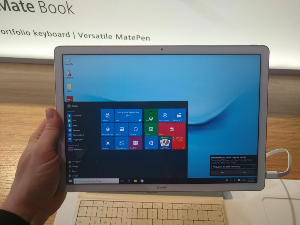SKARP SKJERM: Med 2160 x 1440 piksler oppløsning, er MateBook-skjermen skarp nok, om enn ikke like skarp som iPad Pro (2732 x 2048) eller Surface Pro 4 (2736 x 1824). Foto: PÅL JOAKIM OLSEN