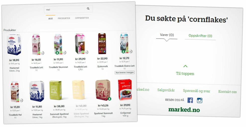 FOR DÅRLIG:  Søker du etter «cornflakes» hos Marked.no, får du ingen treff. Søker du etter «mel» hos Kolonial.no får du opp melk. Foto: OLE PETTER BAUGERØD STOKKE
