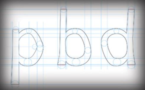 ULIKE: Bokstaver som p, b og d ser ofte like ut med de fleste skrifttyperf fordi de kan vris eller speilvendes for å bli like. Det gjelder ikke for Dyslexie-fonten. Foto: CHRISTIAN BOER