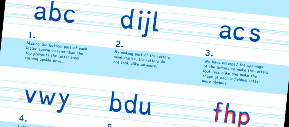SPESIALLAGET: Dyslexie er en skrifttype spesiallaget for folk med dysleksi. Foto: CHRISTIAN BOER