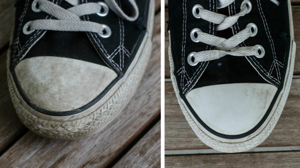 Før og etter maskinvasken. Foto: AKSEL RYNNING