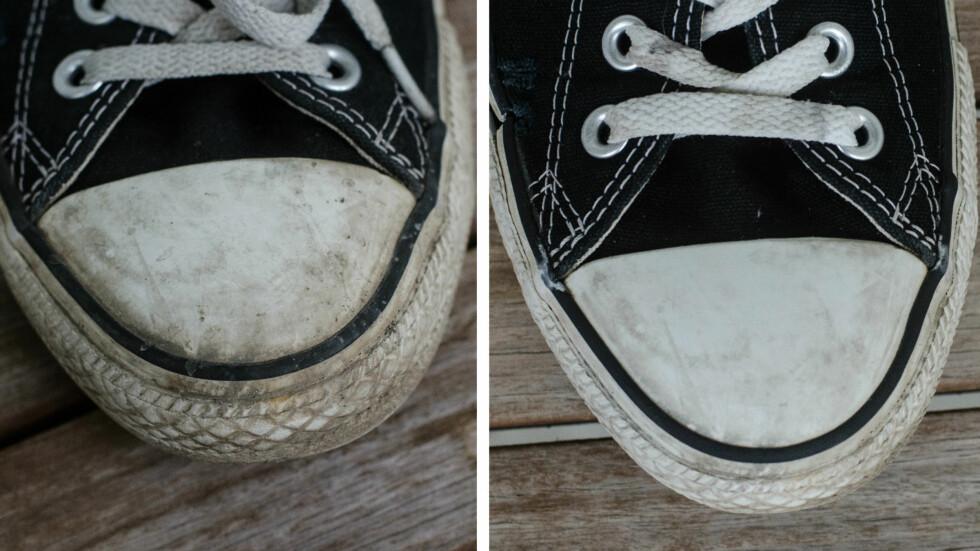 Før og etter kjemieksperimentet.  Foto: AKSEL RYNNING