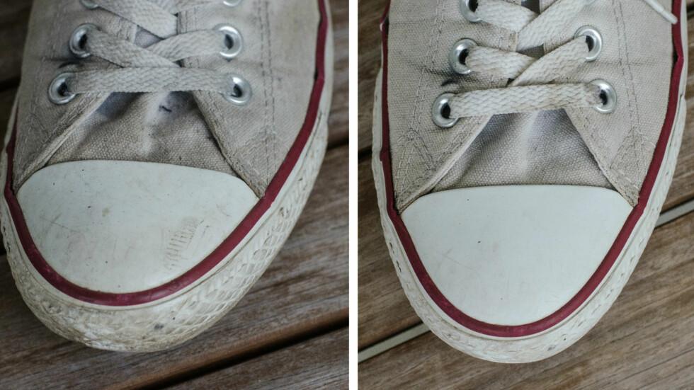 Før og etter pussing med tannkrem. Foto: AKSEL RYNNING