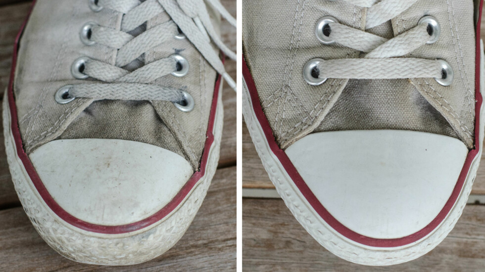 Før og etter bøttevasken. Foto: AKSEL RYNNING