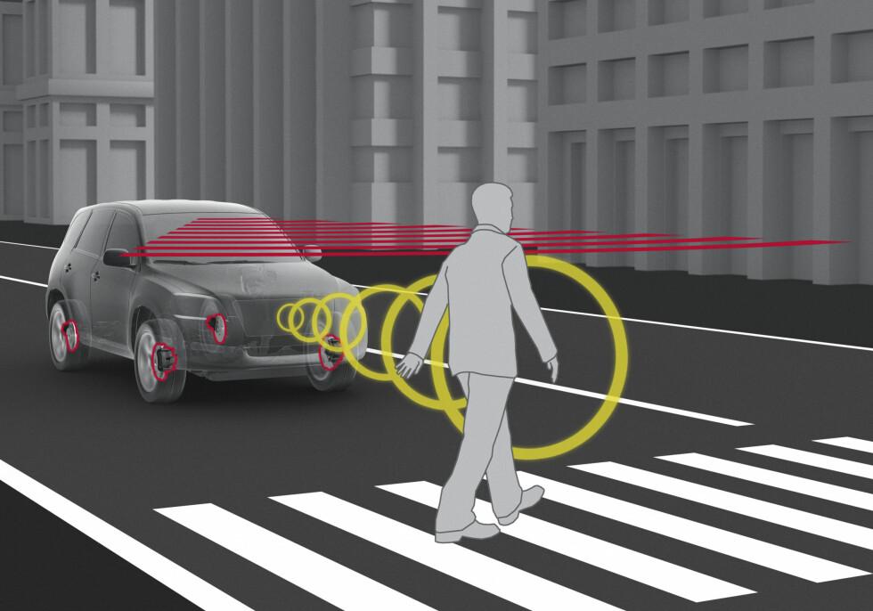 <strong>«SYNSK»:</strong>Nye Prius er utstyrt med en mengde sikkerhetssystemerfor å hindre ulykker, som fotgjengerregistrering og autobrems. Foto: TOYOTA