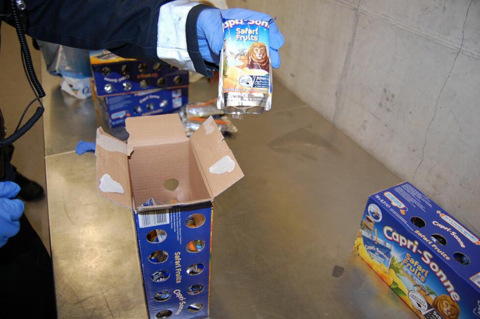 CAPRI-SONNE MED EKSTRA «JUICE»: Capri-Sonne er en storselger på grensa, men denne gangen inneholdt juicen noen ekstra bestanddeler ... Foto: TOLLVESENET