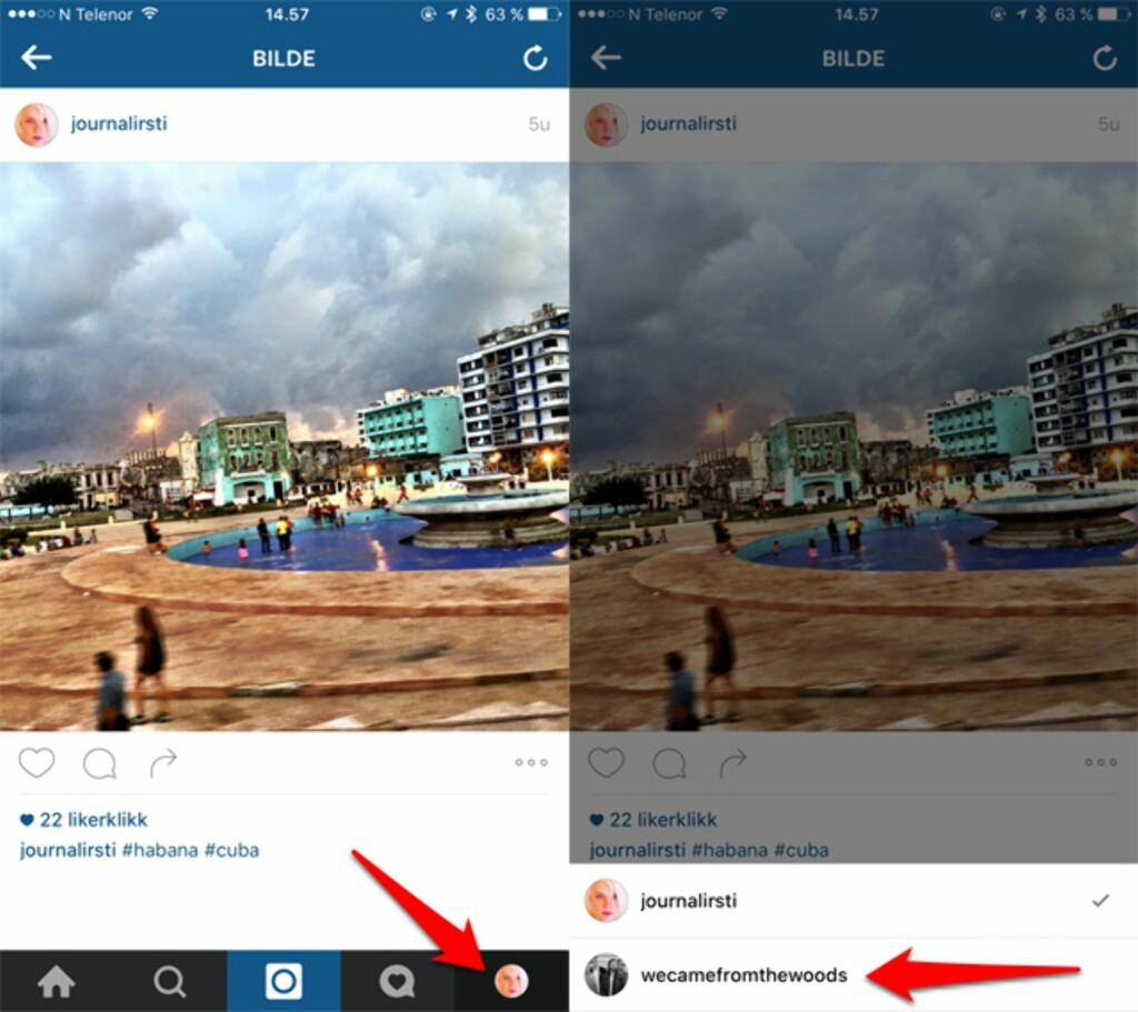 TRYKK OG HOLD: Du bytter mellom kontoer ved å trykke på profilbildet på menylinjen nederst til høyre. Foto: KIRSTI ØSTVANG