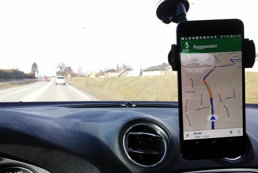 KØ? Google Maps gir deg sanntidsinformasjon om trafikkbildet. Foto: PÅL JOAKIM OLSEN