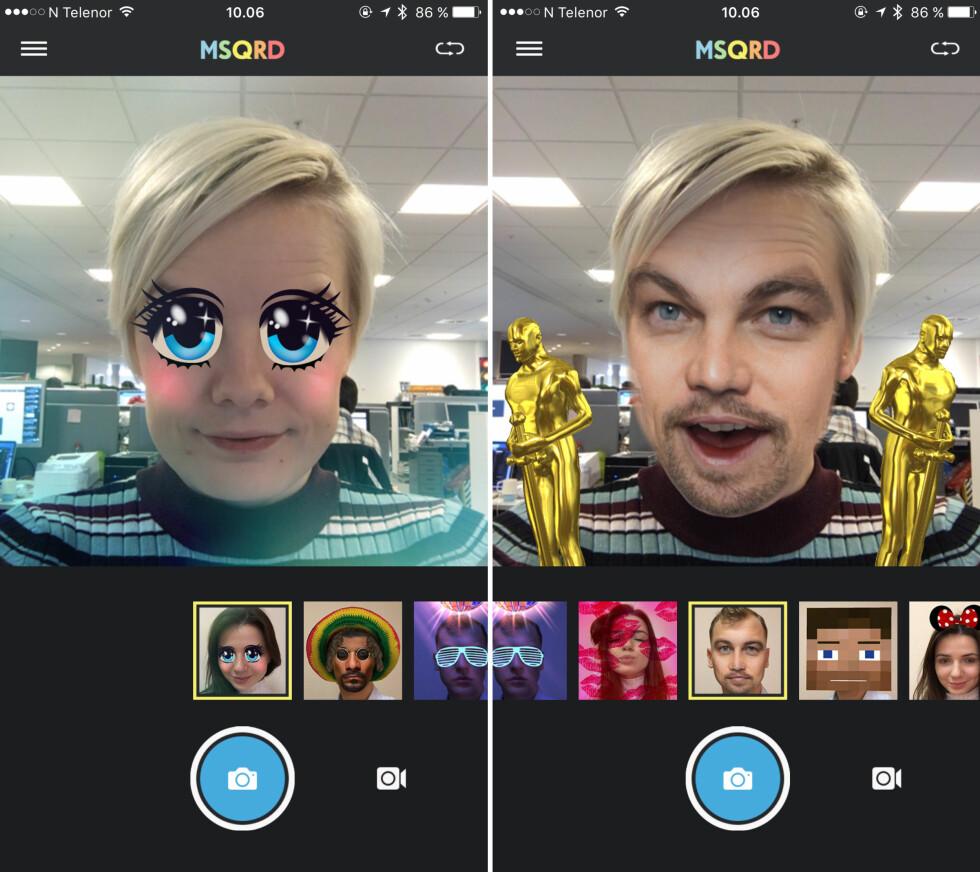 VELG MASKE: MSQRD har et veldig enkelt brukergrensesnitt. Bare velg hvilken maske du ønsker å ta i bruk. Foto: KIRSTI ØSTVANG