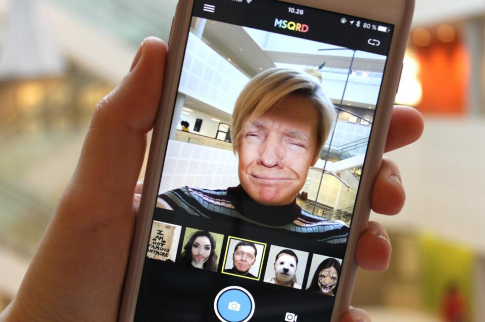 """""""SELFIES"""": Med appen MSQRD kan du lage selfies litt utenom det vanlige. Foto: KIRSTI ØSTVANG"""
