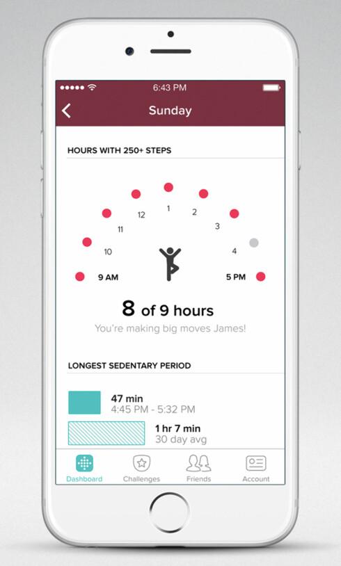 BEVEG PÅ DEG!: Fitbit Alta sier i fra hvis du har sittet stille for lenge. Foto: FITBIT