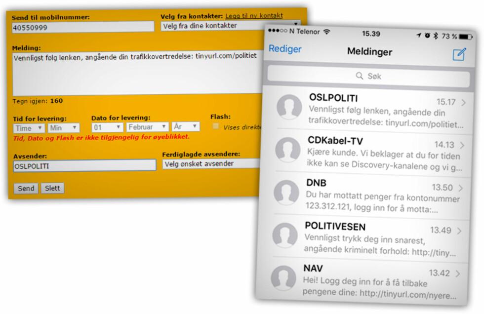 FALSK SMS-AVSENDER: En norsk tjeneste lot oss kalle oss hva som helst, og sende falske tekstmeldinger fra nettet. Alle du ser her er sendt fra oss, unntatt den fra Canal Digital, som ironisk nok kom opp samtidig. Foto: OLE PETTER BAUGERØD STOKKE