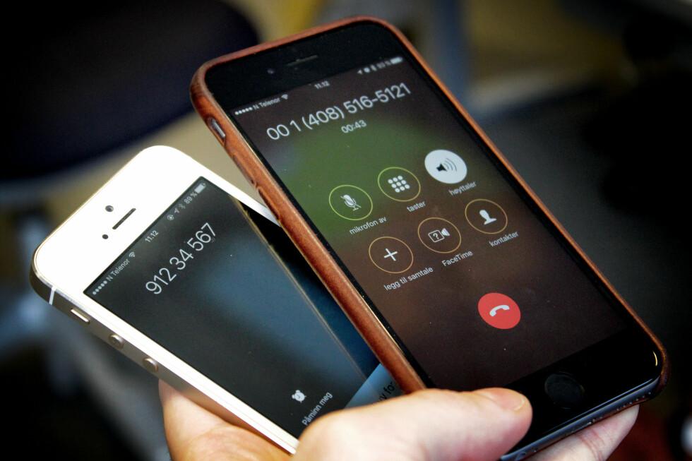 SPOOFING: Til høyre er mobilen vi ringer fra, til venstre mobilen vi ringer til. Nummeret 91234567 har vi selv valgt. Med andre ord får vi her forfalsket visningsnummeret på mobilen vi ringer til, som kalles «spoofing». Foto: OLE PETTER BAUGERØD STOKKE