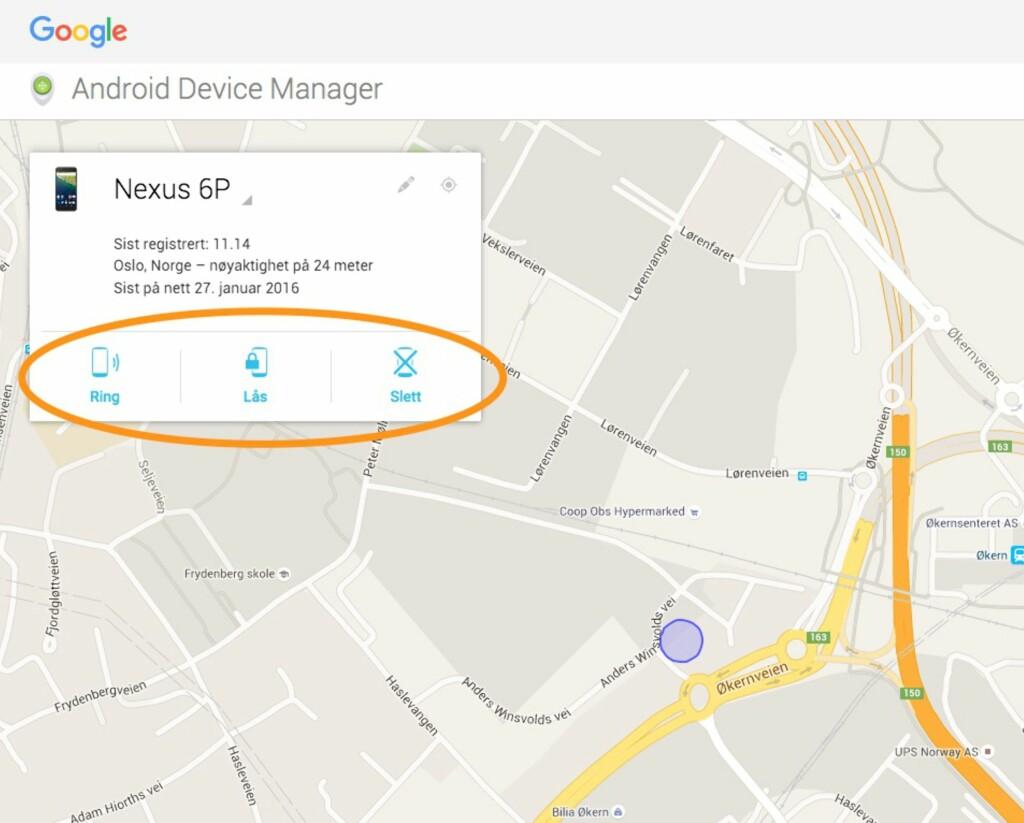FJERNSTYRING: Via Android enhetsbehandling kan du spore telefonen på et kart, og låse og slette den om det skulle være aktuelt. Du kan også få den til å ringe om du bare har rotet den bort. Foto: PÅL JOAKIM OLSEN