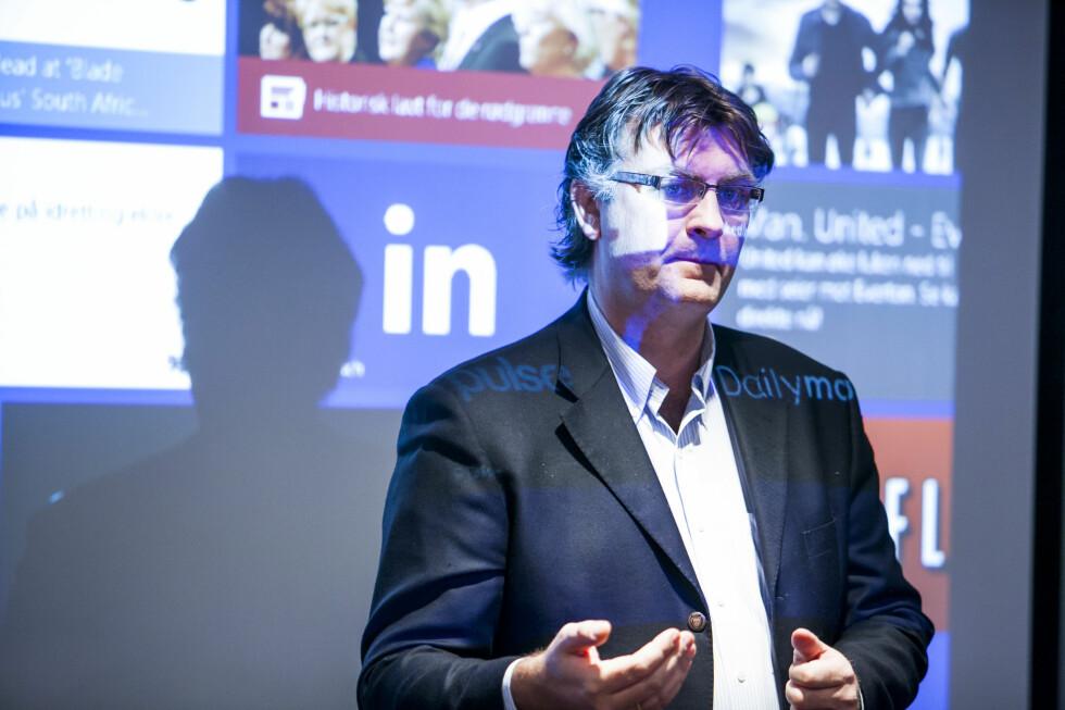 KAN SAKSØKE: Da svindlerne misbruker Microsofts navn, kan de gå til sak, forteller sikkerhetssjef Ole Tom Seierstad i Microsoft. Foto: PER ERVLAND