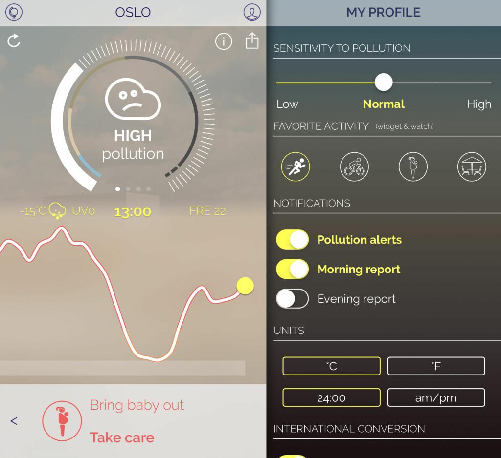 FÅ FLERE VARSLER: Du kan selv bestemme hvor ofte Plume skal rapportere om luftkvaliteten i din by. Foto: KIRSTI ØSTVANG
