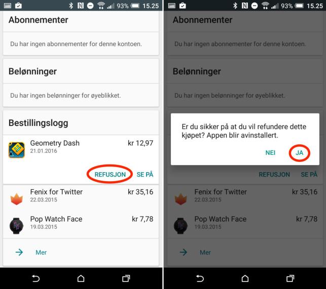 PENGENE TILBAKE: Så snart appen er avinstallert, vil du motta en kvittering på at pengene er på vei tilbake. Skjermdumper: Kirsti Østvang