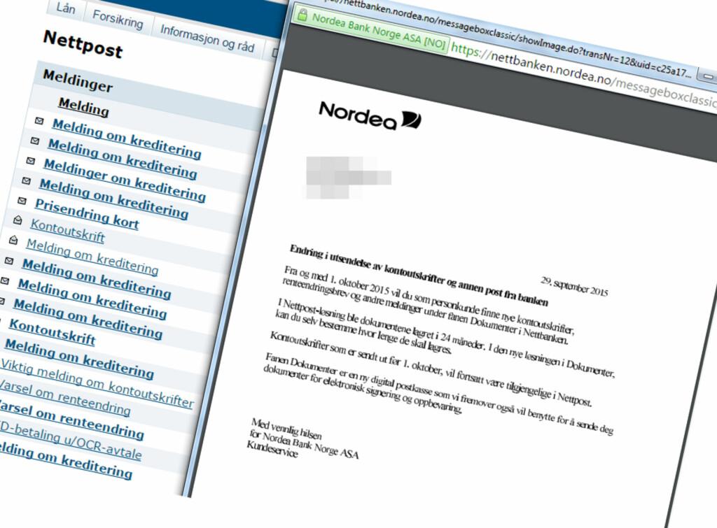 LETT Å GÅ GLIPP AV: Meldingen i nettbanken som forteller at du nå er e-Boks-kunde er ikke så lett å få med seg. Foto: PRIVAT