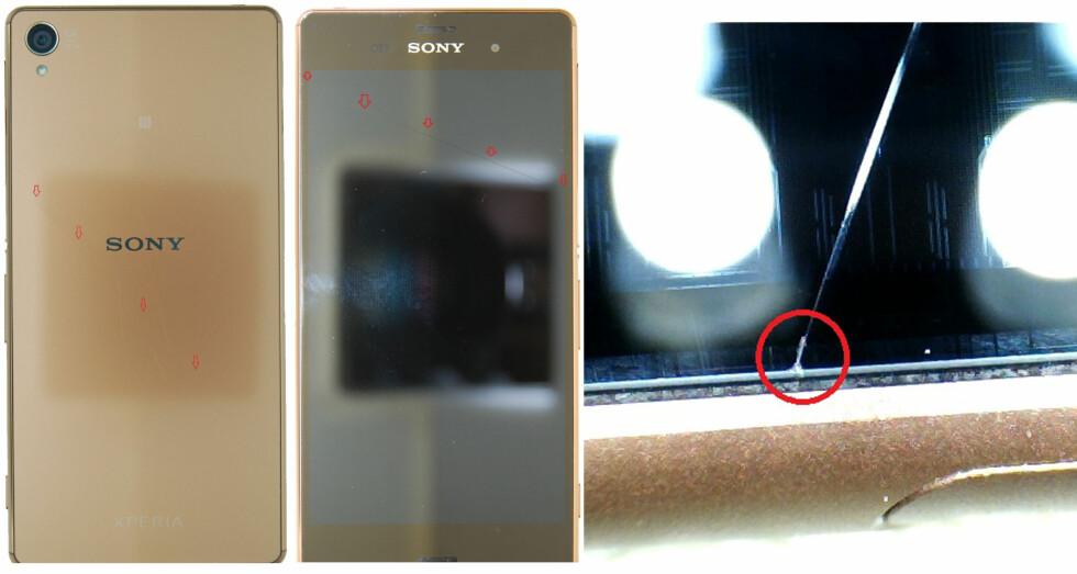<strong><b>EXPERTS VERSJON:</strong> </B>Her er bildene fra mCare som Expert brukte til å bortvise reklamasjonen. De mener sprekken i Sony Xperia Z3-mobilen starter i et hakk som påviser slagskade. Foto: MCARE