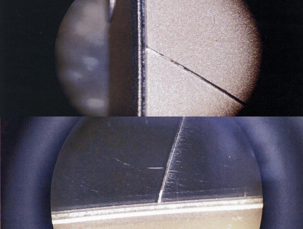 <strong><b>EASYFIKS SIN VERSJON:</strong> </B>Her er bildene fra mikroskopet til Easyfiks, som de mener viser at Sony-mobilen sprakk av seg selv, uten slagskader. Det påståtte hakket er her ikke å se, og de to partene har kranglet om hvorvidt de har undersøkt samme mobil.  Foto: EASYFIKS