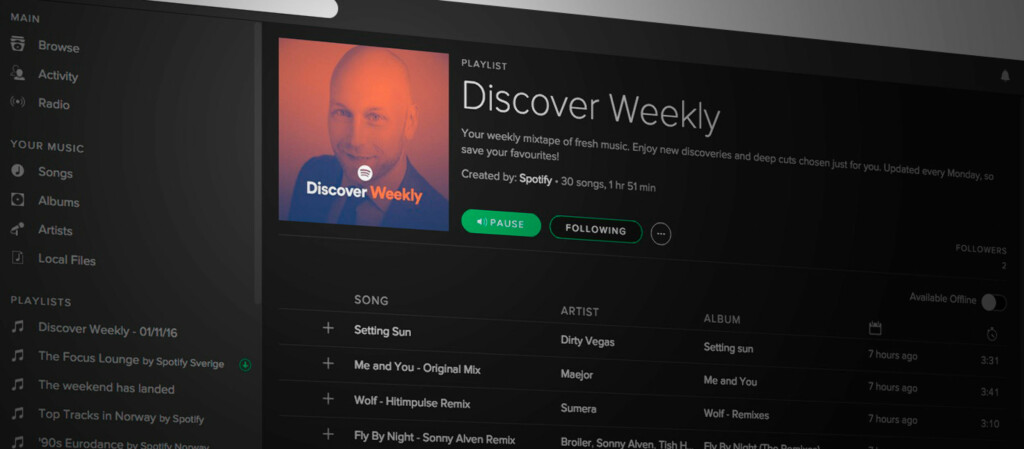 <strong>UKENTLIG SPILLELISTE:</strong> Discover Weekly er Spotifys ukentlige skreddersydde spilleliste til hver bruker. Foto: PÅL JOAKIM OLSEN