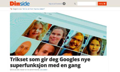GOOGLE-TRIKS: Ved å forfalske plasseringen din, kan du også låse opp Googles særdeles gode ansiktsgjenkjenningsfunksjon i Google Foto. Foto: DINSIDE