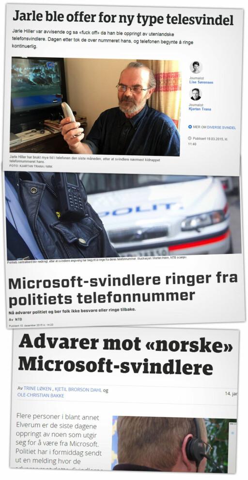 UTBREDT: Flere lokalmedier forteller at det finnes mange ofre rundt om i landet vårt. Inkludert politiet selv. Foto: NRK TRØNDELAG / DIGI.NO / ØSTLENDINGEN /