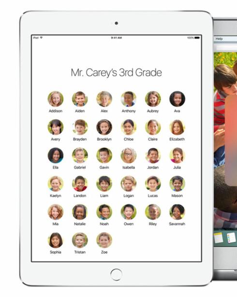 KLASSEROMMET FØRST UT: Brukerkontoer kommer først til dem som bruker iPad på skolen. Foto: APPLE