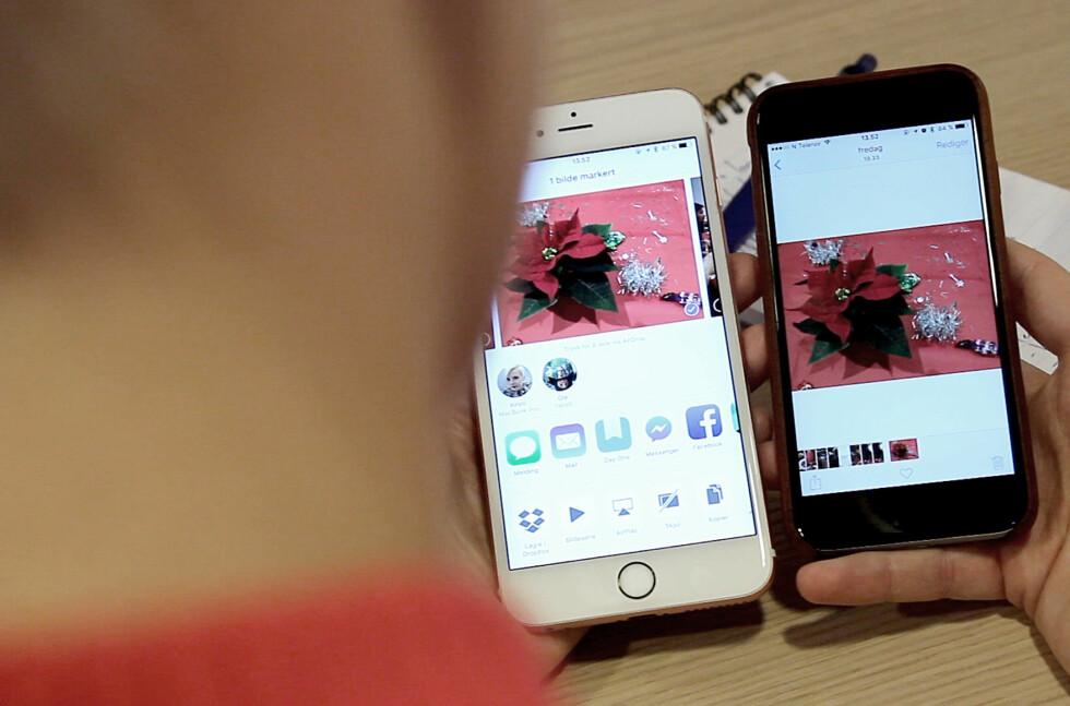 «KAN DU SENDE MEG DET BILDET?» Apple har laget en veldig enkel metode for å dele filer mellom iDingser. Foto: OLE PETTER BAUGERØD STOKKE
