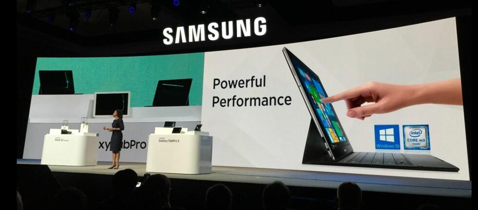 SMELTER SAMMEN: Med en tykkelse på 6,3 millimeter og vekt på 693 gram, byr Samsungs TabPro S på full PC-funksjonalitet og ytelse. Foto: BJØRN EIRIK LOFTÅS