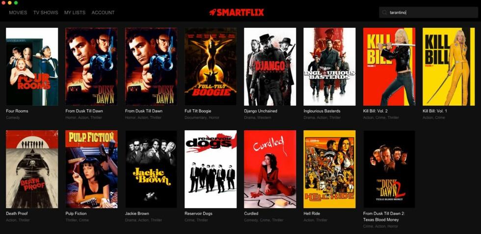 KJEKT SØK: Smartflix' innebygde søk er lynraskt og søker både i filmer og tv-serier. Foto: PÅL JOAKIM OLSEN