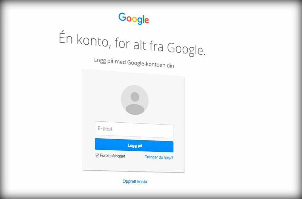 <strong><strong>UTEN PASSORD:</strong></strong> Google tester nå ut en ny måte å logge inn på, der man ikke trenger å oppgi passordet. Foto: PÅL JOAKIM OLSEN