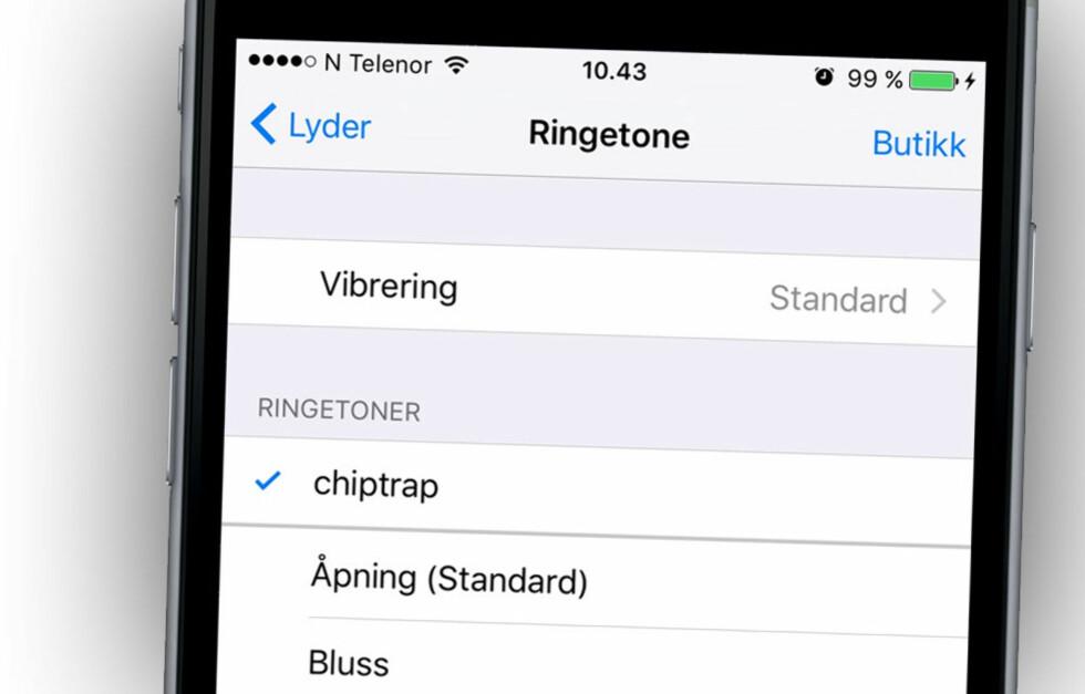 VÆRSÅGOD: Når alt er klart skal ringetonen dukke opp på telefonen din. Her er vår, klar til bruk. Foto: OLE PETTER BAUGERØD STOKKE