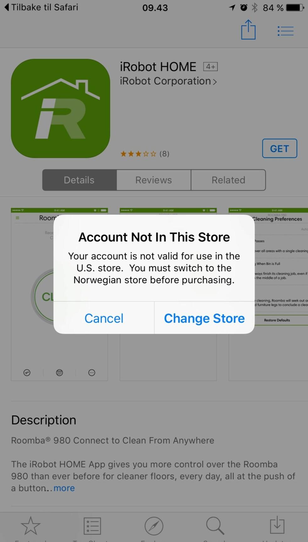 NB: Appen er foreløpig kun tilgjengelig i den amerikanske AppStoren, men vil selvsagt bli tilgjengelig i norske AppStore og Google Play før lansering. Foto: ØYVIND PAULSEN