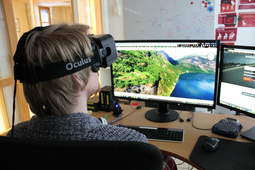 ENDELIG TID FOR VR?: Økonomiske nedgangstider kan gi et boost for nye teknologier, for eksempel VR- Virtual Reality. Den gjør det blant annet mulig å oppsøke fjerne reisemål og overvære store konserter fra sofakroken. Foto: BJØRN EIRIK LOFTÅS